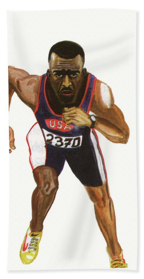 Sports Hand Towel featuring the painting Michael Johnson by Emmanuel Baliyanga
