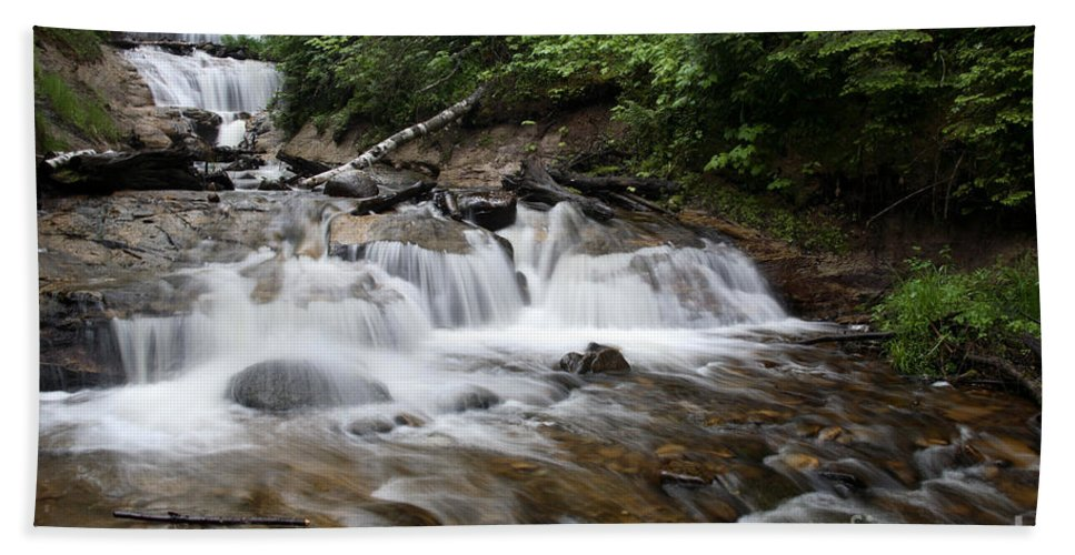 National Park Hand Towel featuring the photograph Michigan Waterfall by Ted Kinsman