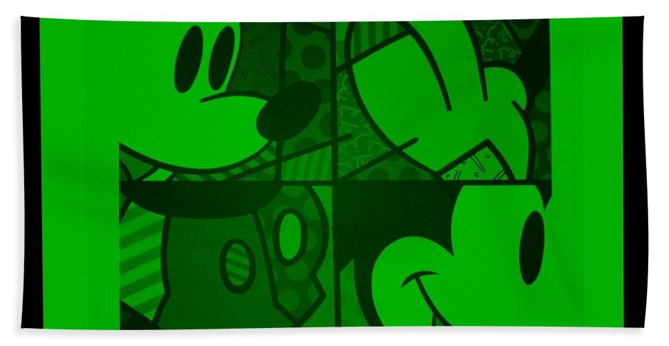 Mickey Mouse Bath Sheet featuring the photograph Mickey In Green by Rob Hans