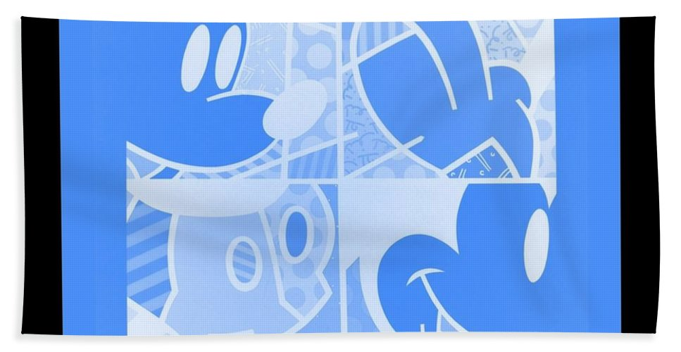 Mickey Mouse Bath Sheet featuring the photograph Mickey In Negative Light Blue by Rob Hans