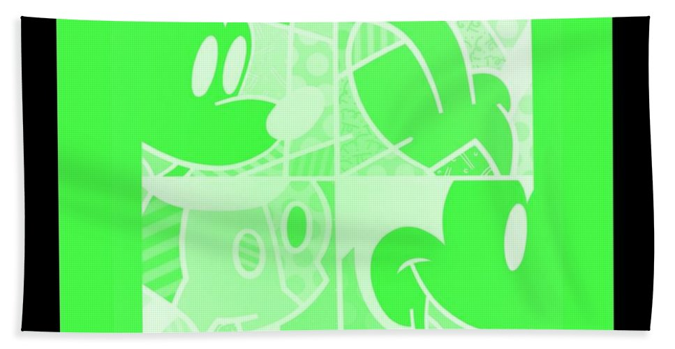 Mickey Mouse Bath Sheet featuring the photograph Mickey In Negative Light Green by Rob Hans