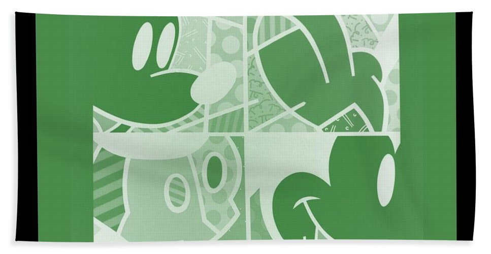 Mickey Mouse Bath Sheet featuring the photograph Mickey In Negative Olive Green by Rob Hans