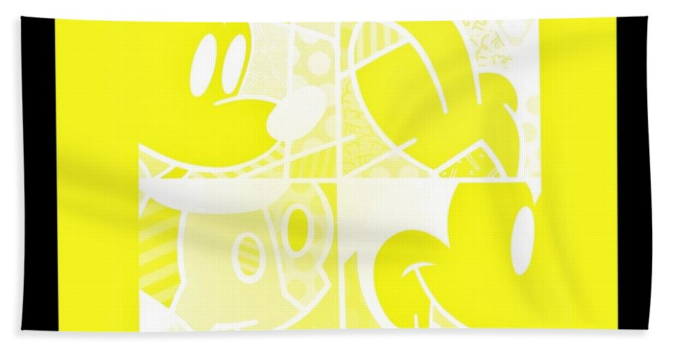 Mickey Mouse Bath Sheet featuring the photograph Mickey In Negative Yellow by Rob Hans