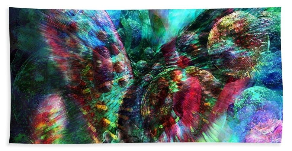 Abstract Bath Sheet featuring the digital art Microscope Dreaming 2 by Russell Kightley