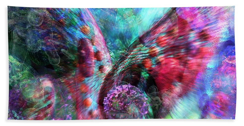 Abstract Bath Sheet featuring the digital art Microscope Dreaming 3 by Russell Kightley