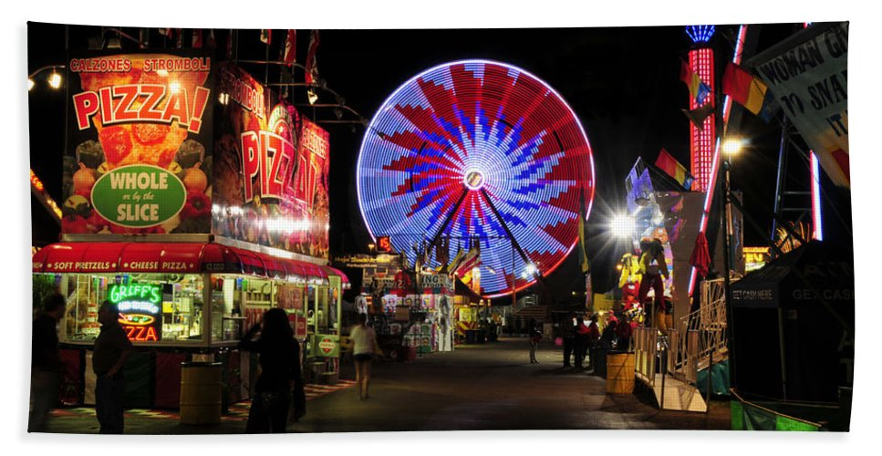Fine Art Photography Bath Sheet featuring the photograph Midnight At The Fair by David Lee Thompson