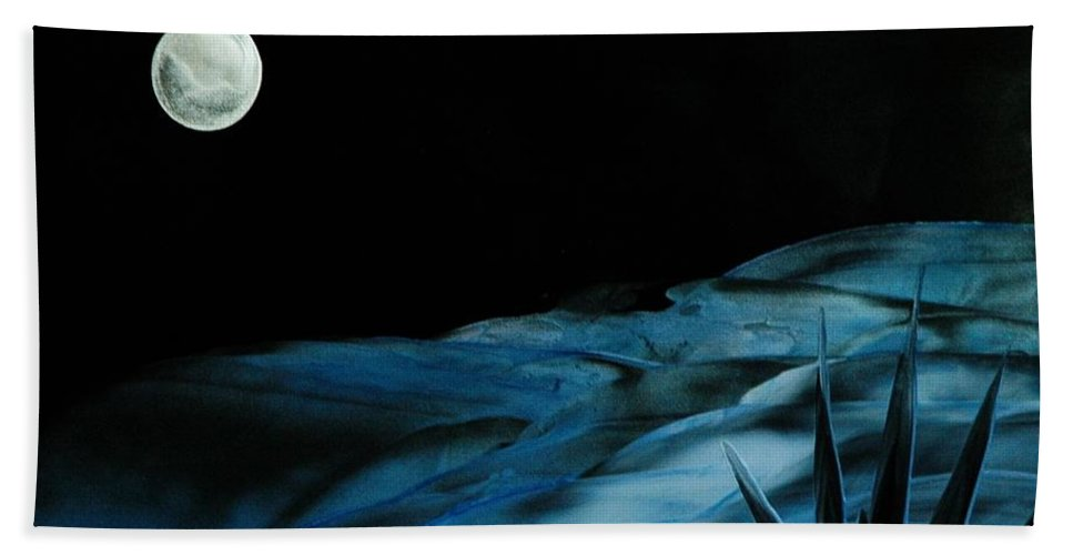 Night Bath Towel featuring the painting Midnight by Melinda Etzold