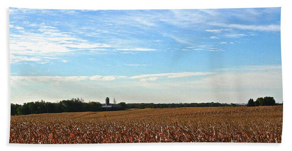 Landscape Hand Towel featuring the photograph Midwest Farm by Susan Herber