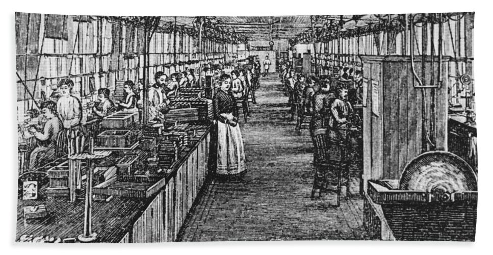 Drawing Hand Towel featuring the photograph Mill Industry by Photo Researchers