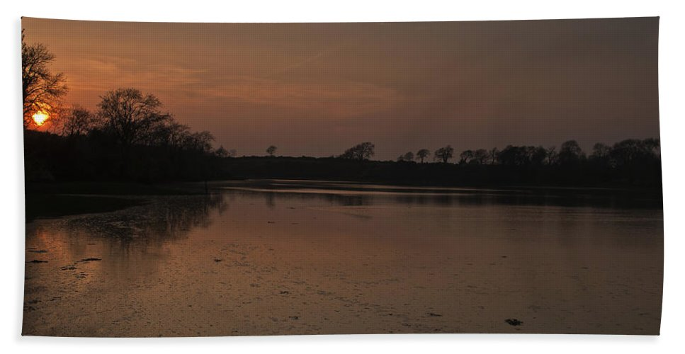 Carew Castle Bath Sheet featuring the photograph Mill Pond Sunset by Steve Purnell