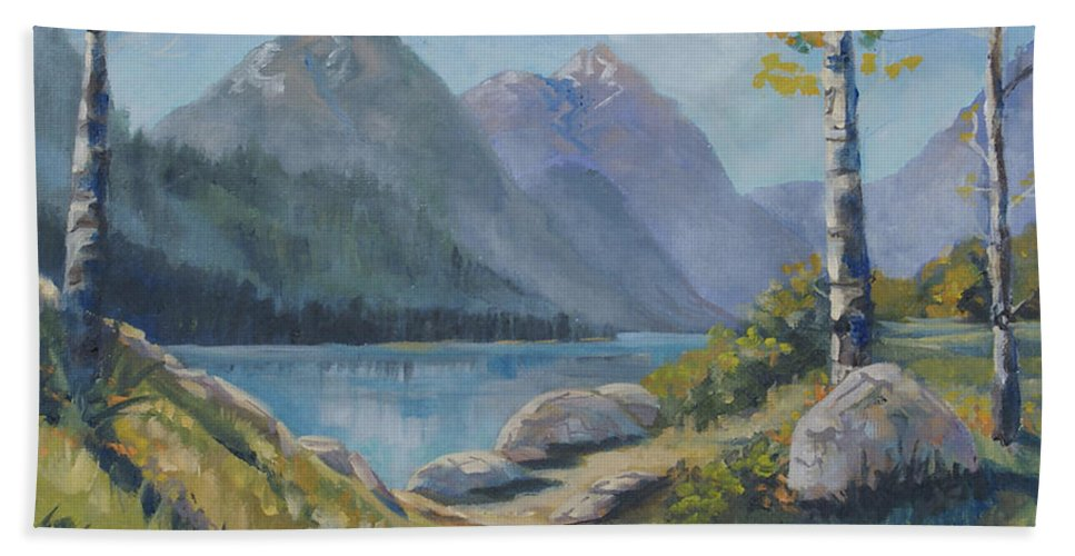 Mills Lake Hand Towel featuring the painting Mills Lake by Heather Coen