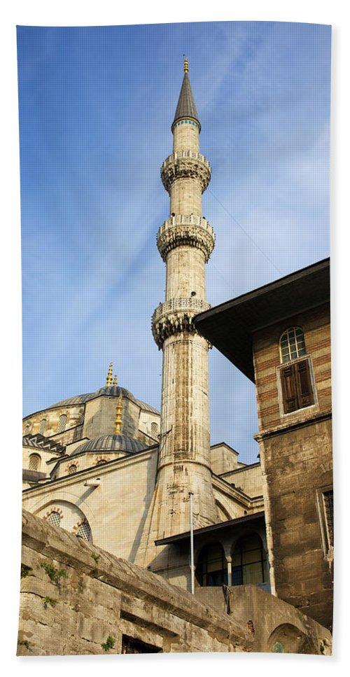 Mosque Bath Sheet featuring the photograph Minaret Of The Blue Mosque by Artur Bogacki