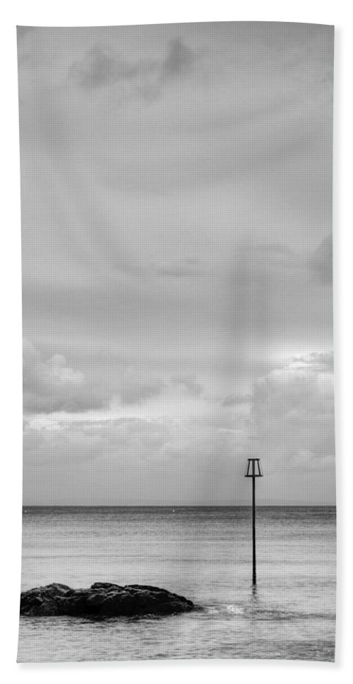 Tenby Seascape Bath Sheet featuring the photograph Minimal Seascape Mono by Steve Purnell