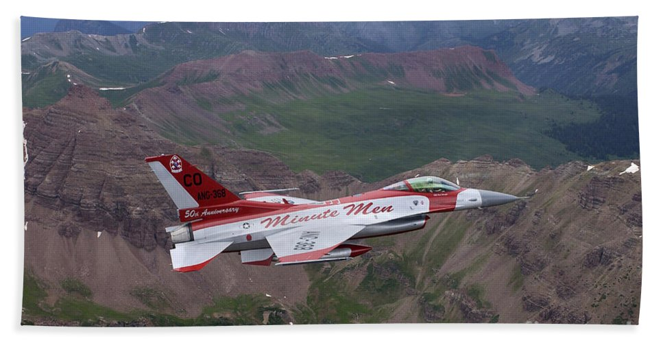 Horizontal Bath Sheet featuring the photograph Minute Men Paint Scheme On An F-16 by Stocktrek Images