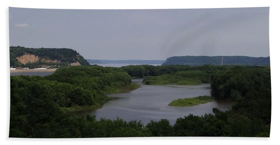 Mississippi River Hand Towel featuring the photograph Mississippi River Panorama  by Keith Stokes