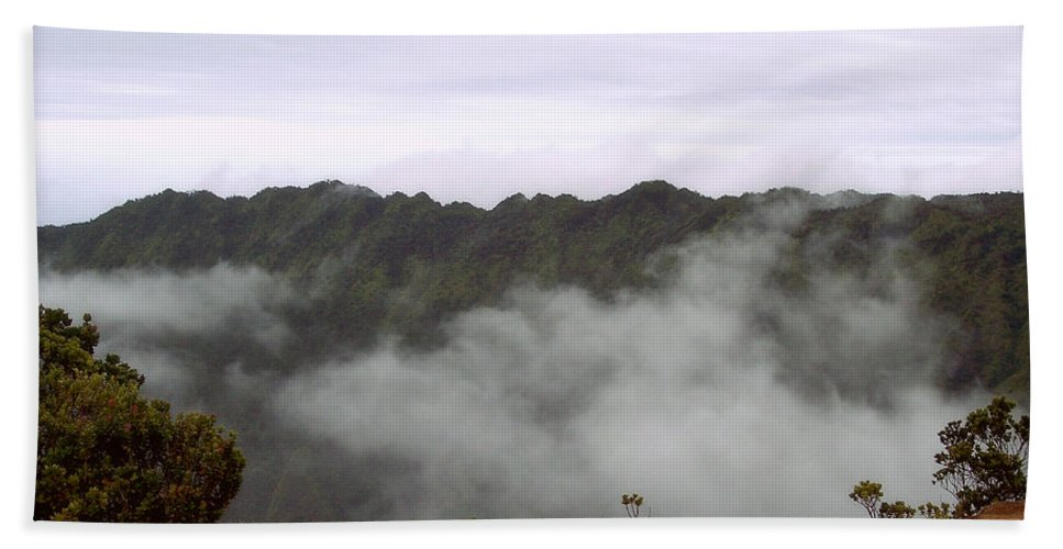 Kalalau Valley Bath Sheet featuring the photograph Mists From The Kalalau Valley by Paulette B Wright