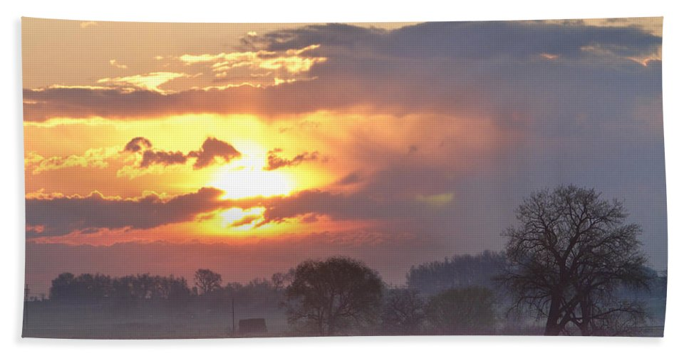 Sunrise Hand Towel featuring the photograph Misty Country Sunrise by James BO Insogna