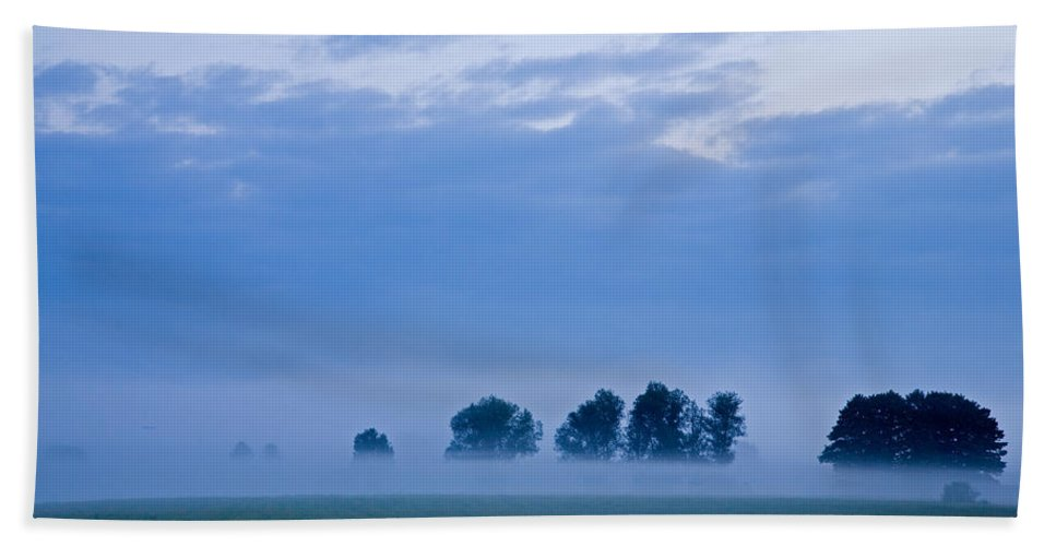 Dawn Bath Sheet featuring the photograph Misty Marsh by Ian Middleton