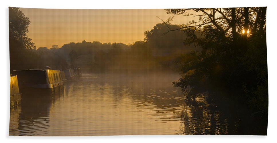 Mist Hand Towel featuring the photograph Misty Morning On The Grand Union Canal by Louise Heusinkveld