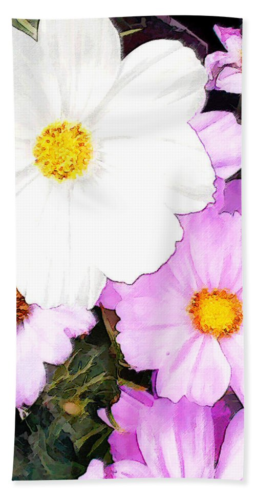 Flower Flowers Cosmos Garden Flora Floral Pink White Nature Natural Bloom Blooms Blossoms Blossom Bouquet Arrangement Colorful Plant Plants Botanical Botanic Blooming Gardens Gardening Tropical Annuals Perennials Hand Towel featuring the painting Mixed Pink And White Cosmos by Elaine Plesser