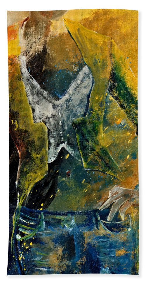 Model Bath Sheet featuring the painting Model 45 by Pol Ledent