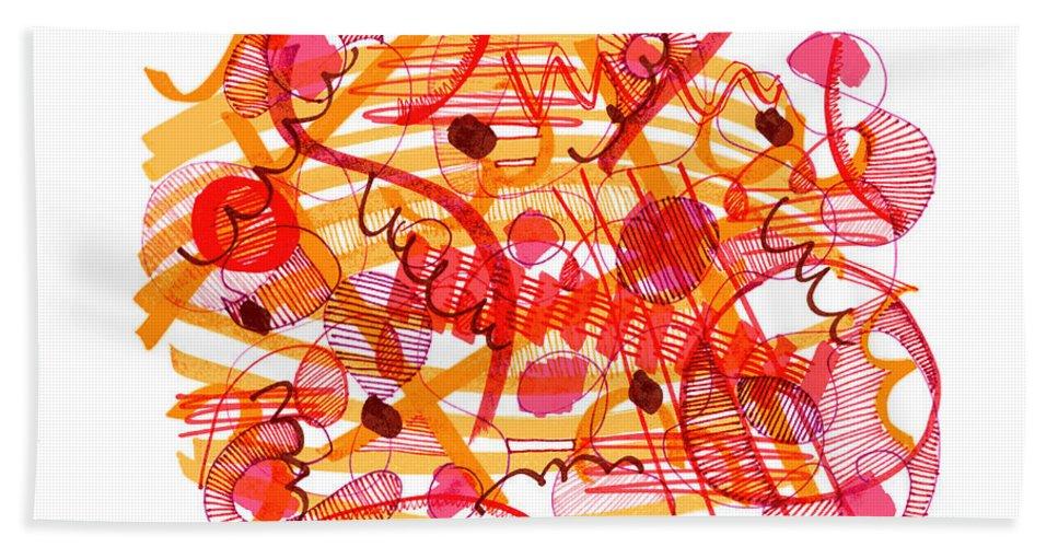 Modern Drawing Bath Sheet featuring the drawing Modern Drawing 105 by Lynne Taetzsch
