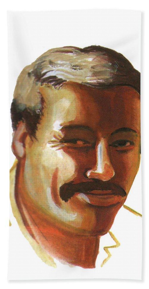 Portraits Hand Towel featuring the painting Mohammed Lakhdar Hamina by Emmanuel Baliyanga