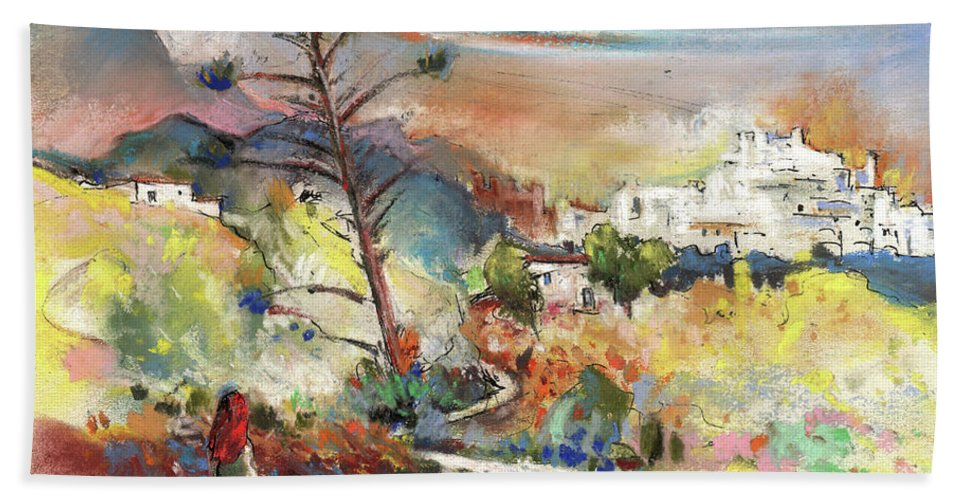 Spain Bath Sheet featuring the painting Mojacar In Spain 02 by Miki De Goodaboom