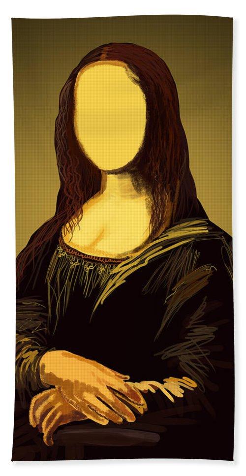 Album Bath Sheet featuring the painting Mona Lisa by Setsiri Silapasuwanchai