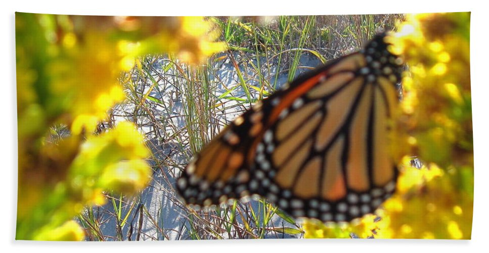 Monarch Bath Sheet featuring the photograph Monarch On The Dunes by Nancy Patterson