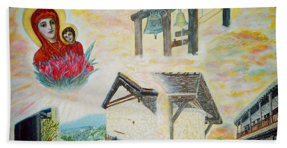 Monastery Hand Towel featuring the painting Monastery Of The Virgin Mary by Augusta Stylianou