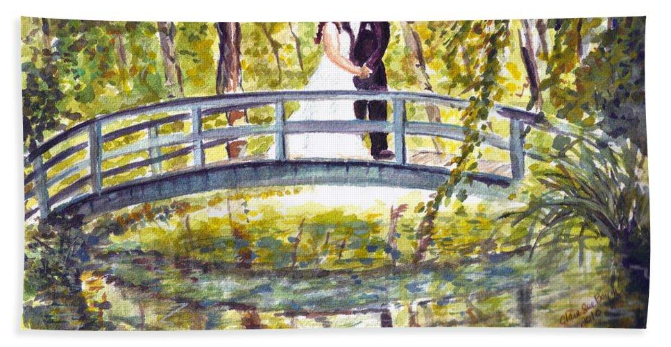 Garden Bridge Bath Sheet featuring the painting Monet Wedding by Clara Sue Beym