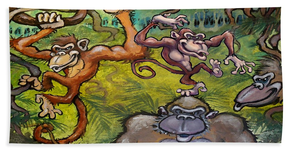 Monkey Hand Towel featuring the painting Monkey Business by Kevin Middleton