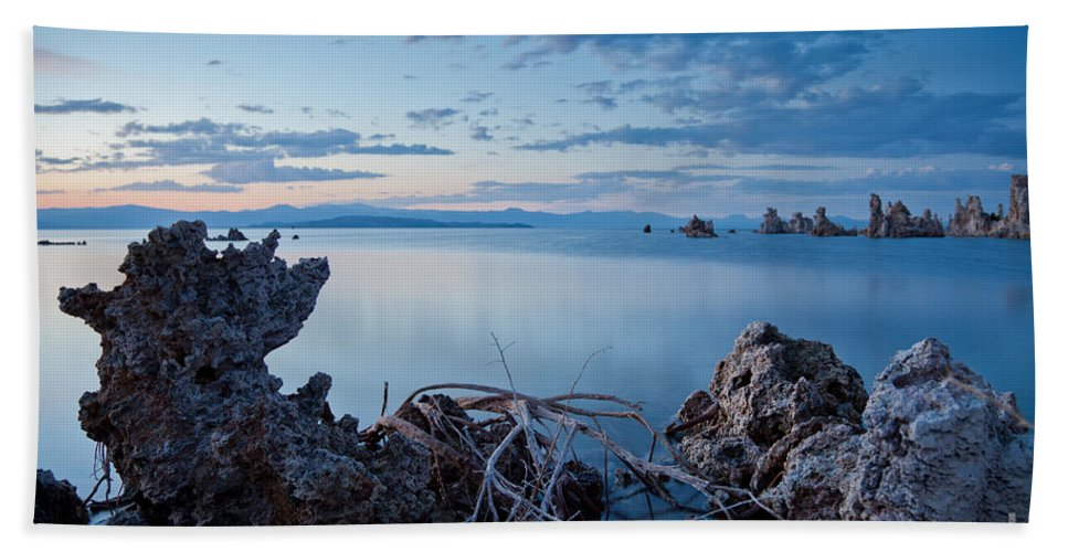 Alkaline Bath Sheet featuring the photograph Mono Lake After Sunset by Olivier Steiner