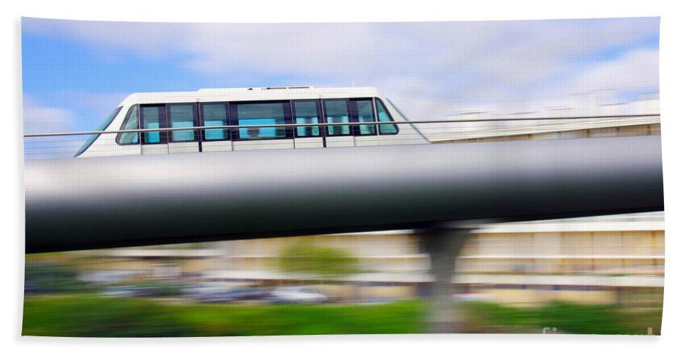 Blue Bath Sheet featuring the photograph Monorail Carriage by Carlos Caetano