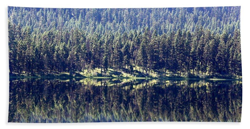 Montana Bath Sheet featuring the photograph Montana Lake Reflection by Carol Groenen