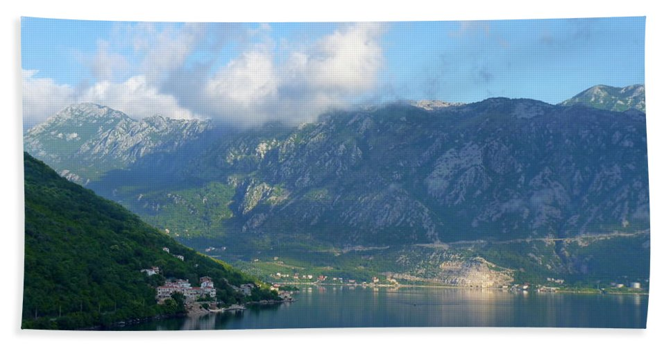 Montenegro Hand Towel featuring the photograph Montenegro's Bay Of Kotor by Carla Parris