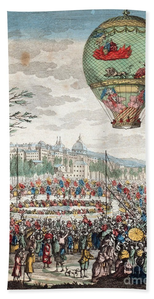 Technology Hand Towel featuring the photograph Montgolfier Balloon Le Flesselles by Photo Researchers