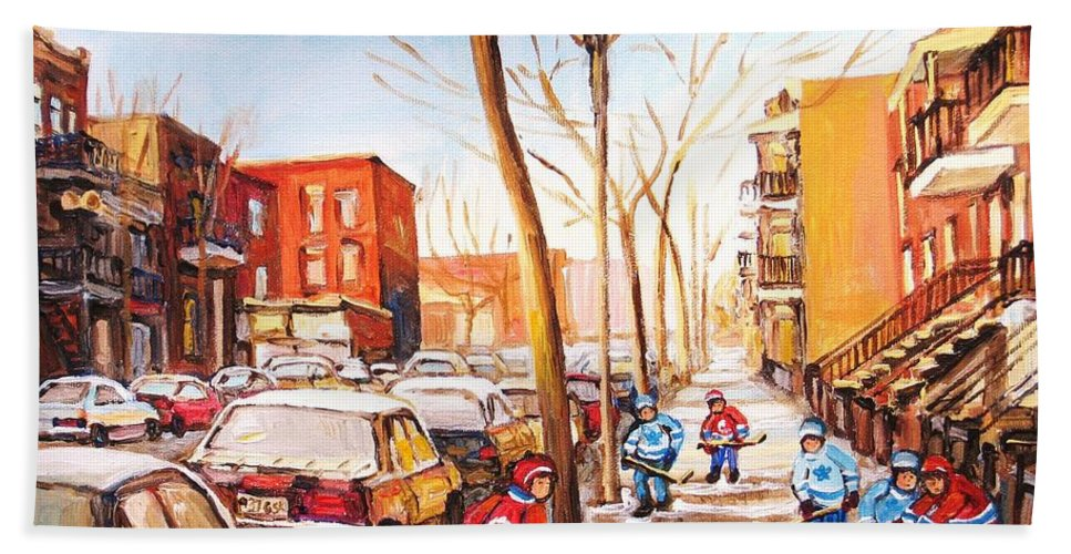 Montreal Street Scene With Boys Playing Hockey Bath Towel featuring the painting Montreal Street With Six Boys Playing Hockey by Carole Spandau