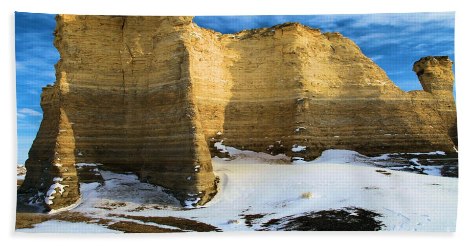 Monument Rocks Hand Towel featuring the photograph Monument Rocks Castle by Adam Jewell