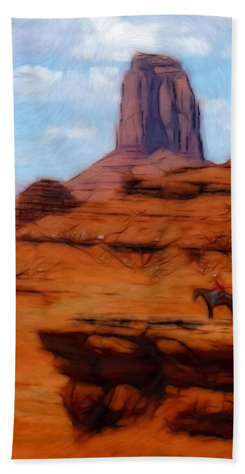 Monument Valley America Canyon Landscape Nature Drawing Painting Oil Pastel Bath Sheet featuring the pastel Monument Valley Pastel by Steve K