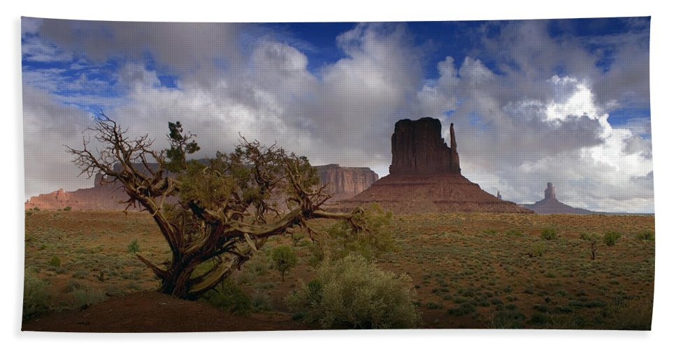 Monument Valley Hand Towel featuring the photograph Monument Valley Vista by Ellen Heaverlo