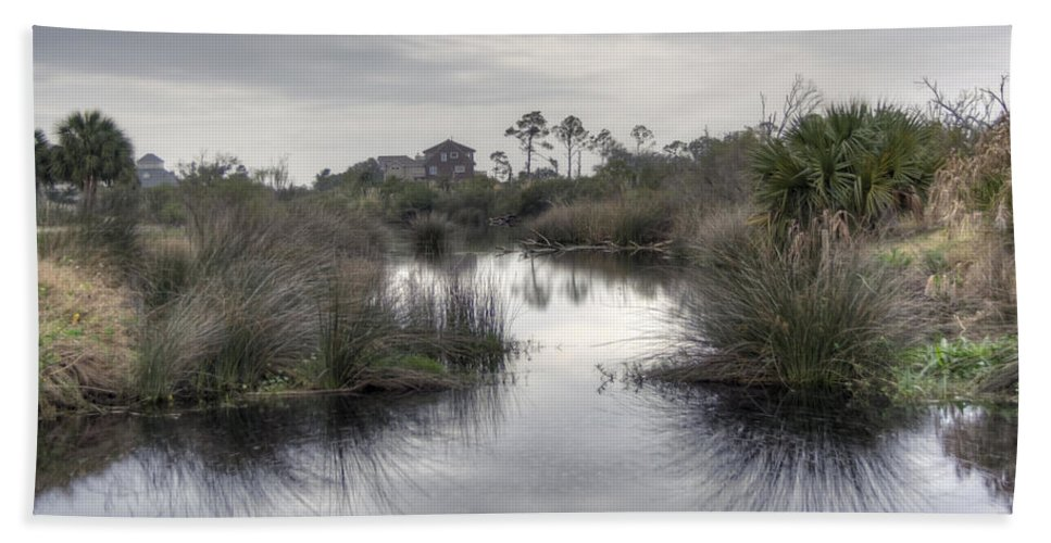 Pensacola Hand Towel featuring the photograph Moody Marsh by David Troxel