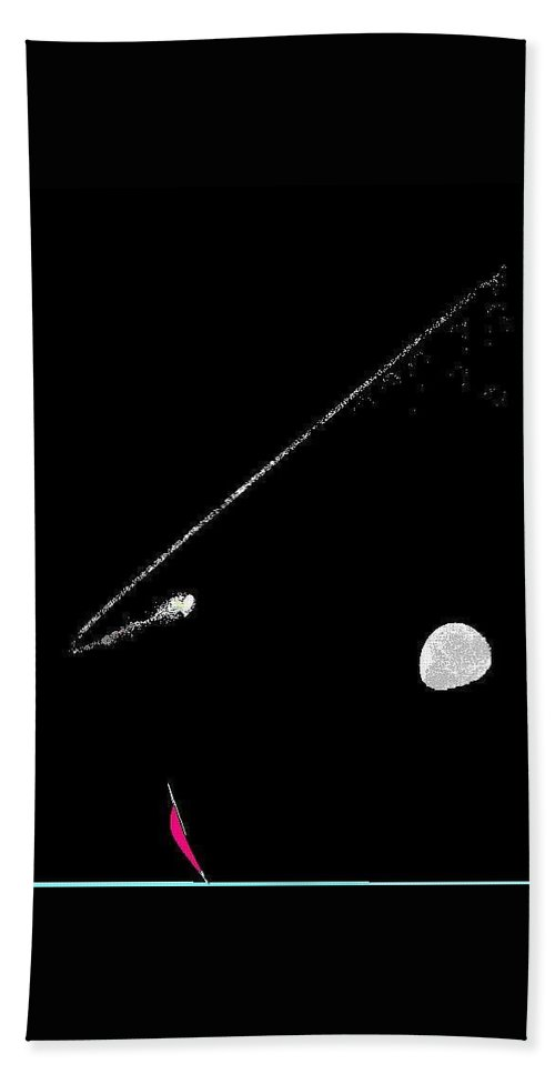 Moon And Comet Hand Towel featuring the digital art Moon Comet by Enriquemontana Garcia