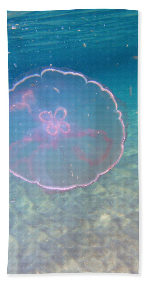 Ocean Nature Blue Sea Water Beach Reef Wildlife Bath Sheet featuring the photograph Moon Jelly by Kimberly Mohlenhoff