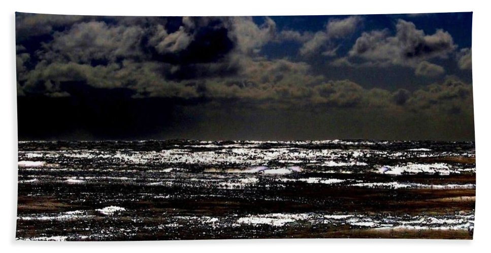 Full Moon Hand Towel featuring the digital art Moon Over The Pacific by Will Borden