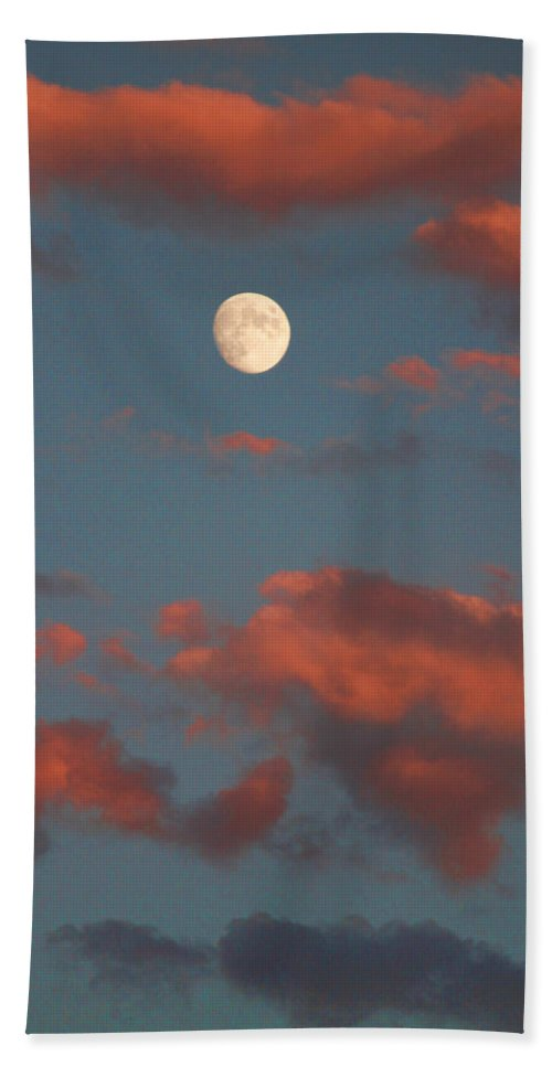 Luna Bath Sheet featuring the photograph Moon Sunset Vertical Image by James BO Insogna
