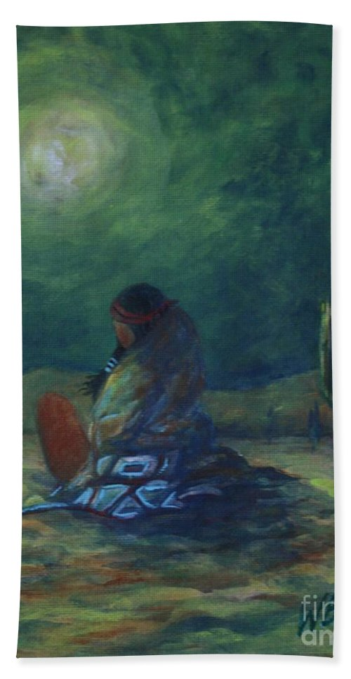 Native American Indian Art Bath Sheet featuring the painting Moonglow by William Bezik