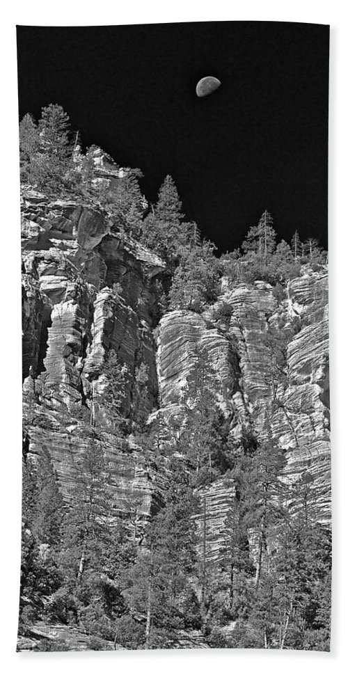 Cliffs Bath Sheet featuring the photograph Moonlit Cliffs by Phyllis Denton