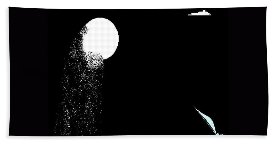 Moon Sailboat At Night Hand Towel featuring the digital art Moonrain15 by Enriquemontana Garcia